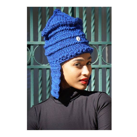 Flap Hat. Cowry Shell Hat. Loc Hat. Dreadlock Hat. Knit Hat.  Ta Ankh.