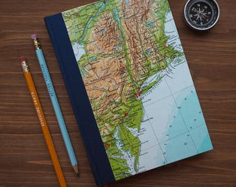 BOOK, New York, Boston, Philadelphia, 6x8,5 inch, 150 p., blank, handbound, travel journal, diary, notebook, atlas, map, vintage, upcycling