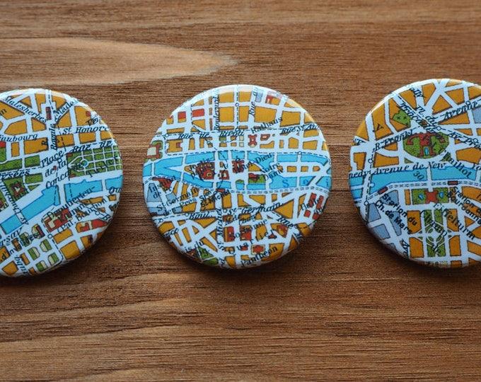 Pinback Button, PARIS, Ø 1.5 Inch Badge, Atlas, Travel, vintage, fun, typography, whimsical