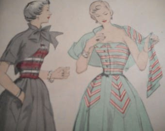 Vintage 1950's Butterick 4872 Two Piece Dress and Bolero Jacket Sewing Pattern Size 14 Bust 32