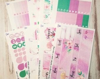 Watercolor Flamingo deluxe full sticker kit to fit the Erin Condren vertical life planner