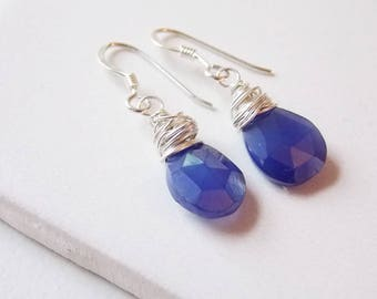 Periwinkle Blue Chalcedony Earrings Nested Wrap in Sterling Silver. Something blue, Beach, Periwinkle