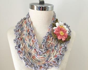 Floral Infinity T-Shirt scarf,  Pastel Lace Infinity scarf, summer scarf, scarf, hand painted merino wool in Ivory white with pastels