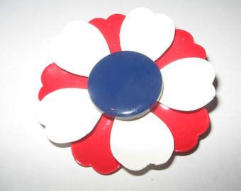 1960s red white blue flower Pin Brooch Vintage Costume Jewelry #529