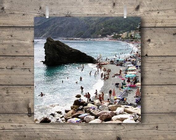 Beach at Monterosso al Mare / Cinque Terre, Liguria, Italy / Italian Riviera Travel Photography Print / Mediterranean Sea Coastal Wall Art