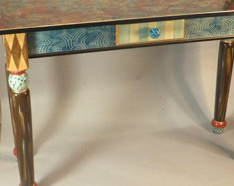 Sofa Table-Turned Legs:  Jewel-Blue-Berry-Anthropologie Knob, Custom Made-To-Order