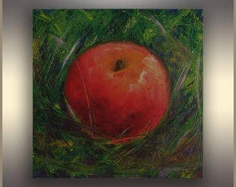"""Red Apple, 8""""x8"""", Original Oil Painting, Small painting, Canvas Art, Kitchen Art, Canvas Artwork, Home Decor, Wall Decor, Art Gift"""