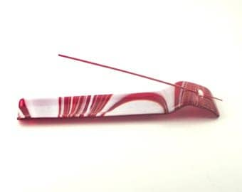Red and White Stick Incense Burner, Unique Ash Catcher, Meditation Aid, Zen Room Decor, Fused Glass, Cool Gifts for Men