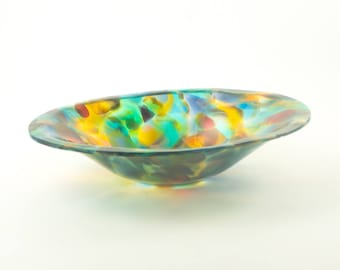 Handmade Glass Bowl, Hand Blown, Multi Colored Home Decor, Unique Housewarming Gifts for New Homeowners, Fused Glass, One of a Kind