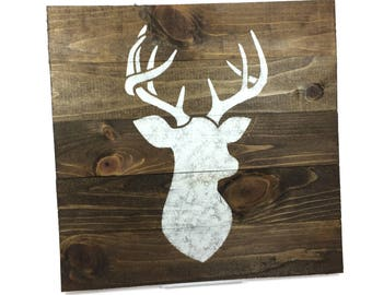 SALE Woodland Deer Head Silhouette Sign - Small Rustic Wood Sign - 13x13 Inch Wall Hanging/Decor
