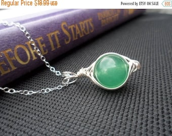 ON-SALE Lovely PEA Pod Necklace - Green Jade, Sterling Silver Necklace, Birthday Gifts, Handmade Jewelry, Wire Wrapped Necklace - Weekly Dea