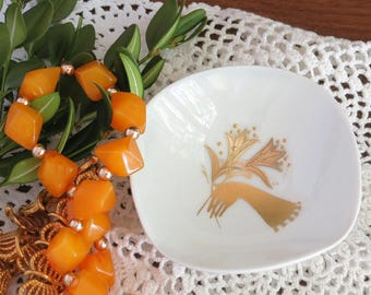 1960s Rosenthal Porcelain Pin Dish - Vintage Rosenthal Ring Dish - Gold Decoration Gloved Hand with Flower Bouquet - Gold White Rosenthal