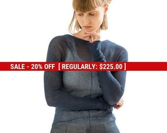 SALE Blue Transparent knitted shirt, Blue sheer top ,long sleeve blouse, Blue round neck women shirt