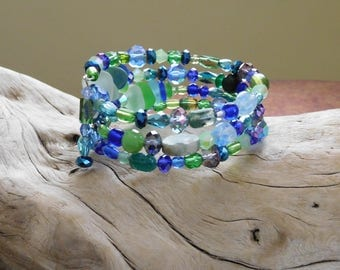 Memory wire bracelet.  Green and blue.  Unaltered sea glass.  Genuine beach glass.