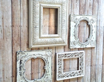 4 shabby winter white wall frames shabby chic open wall frames frame wall decor - White Wall Frames