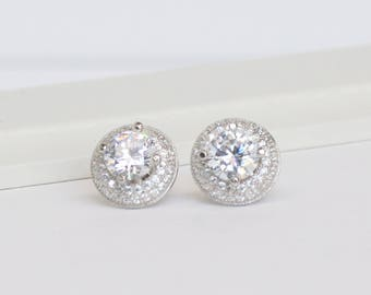 Halo Stud Earrings, Dome Stud Earrings, Bridal earrings, Crystal Stud Earrings, Bridal jewelry, Bridesmaids Jewelry, Wedding Jewelry, EC359
