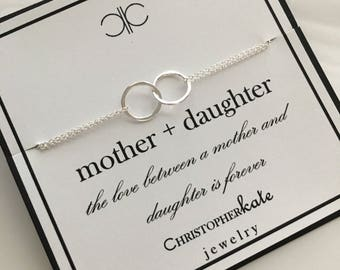 Sterling Silver Entwined Rings Eternity Necklace....Mother, Daughter, Mother of the Bride