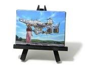 2.5x3.5 Final Fantasy Art, Final Fantasy 7, Aerith, Highwind, Mini Painting by J. Mandrick