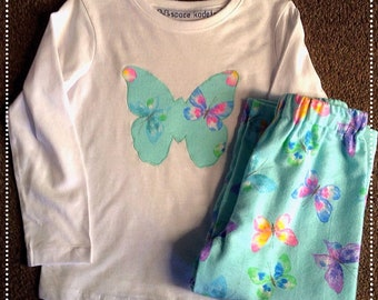 Girls winter cotton/flannelette butterfly pyjamas Sizes 1 to 7