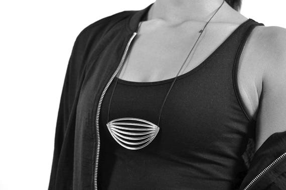 Necklace Mutation 06 - stylized leaf - silver mirror - statement jewellery - contemporary jewelry - minimalist - graphic - lasercut acrylic