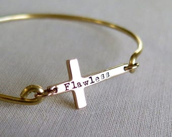 SALE Personalized Cross Bracelet, Gold Cross Bangle Bracelet, Sideways Cross Bracelet, Layered Bracelet, Christian Jewelry, Cross Bracelet