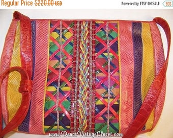 50% Off Sale Vintage 80s Sharif Shoulder Bag Purse Vivid Color Leather