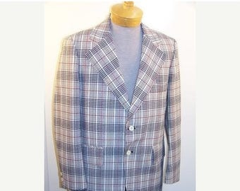 On Sale 50% OFF Vintage 70s Disco Jacket Red White Blue Plaid sz 40