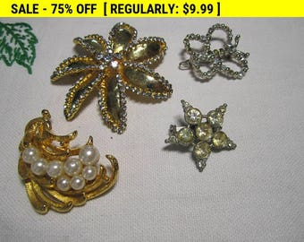 vintage assorted brooches lot for wear, craft or repurpose