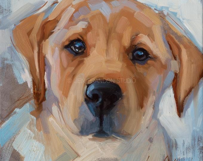 Featured listing image: Yellow Lab Pet Portrait Giclée Fine Art Print