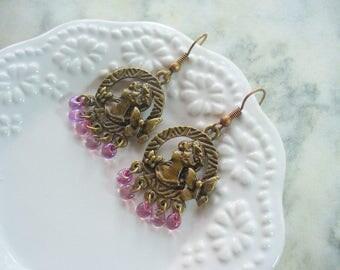 Antique Bronze Cameo Dangle Earrings, Pale Purple Drop Bead, Chandelier Earring, Dangle Cameo Lady Earring, Glass Drop Bead, Purple Earrings