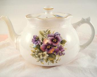 Vintage Teapot Arthur Wood England Purple Pansy Shabby Cottage Chic Vintage Tea Party