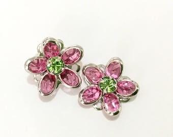 Silver Fused Floral Filigree Earrings Swarovski Crystal Green Peridot Pink Rose Rhinestone  15mm Titanium Post Flower Stud Ladies Gift