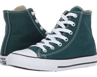 Custom Converse High Top Green Teal Forest Ladies Mens Bling w/ Swarovski Crystal Rhinestone Chuck Taylor All Star Sneakers Shoes
