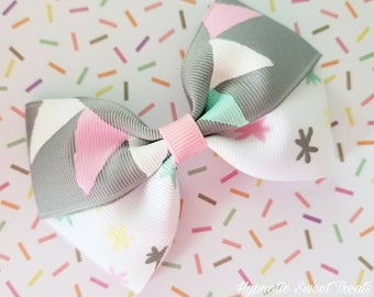 Birthday Party Banner Bow, Hand Painted bow, Girls Birthday, 1st birthday headhand, M2M hair bow, First Birthday Girl, Toddler Hair Bow