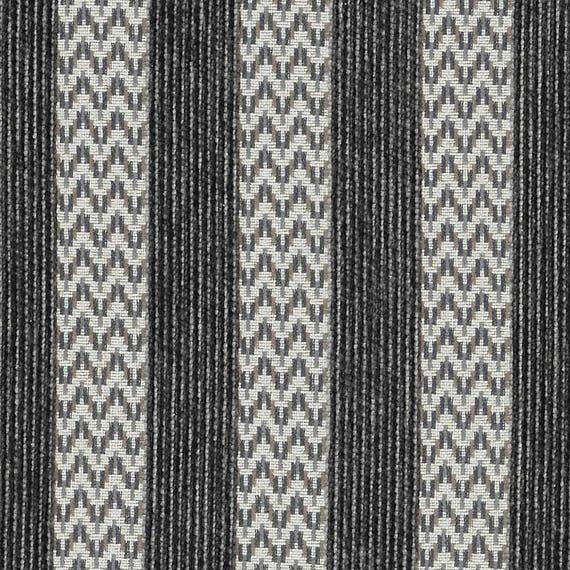 Modern Black Grey Stripe Upholstery Fabric Black White