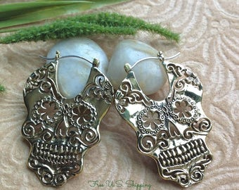"Tribal Hanging Earrings, Large Design, ""Queen"" ~ Sugar Skull"" Brass, Medium Weight, Brass/Sterling Posts, Handcrafted"