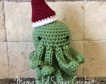 Cthulhu, Santa Cthulhu, HP Lovecraft Toy, Cthulhu toy, Gift, Christmas Cthulhu, HP Lovecraft, Cthulhu amigurumi, Christmas décor, home decor