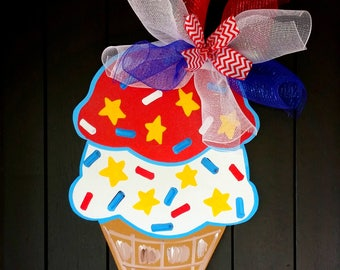 4th of July Ice Cream Cone Wreath   Patriotic Door Hanger   4th of July Party Invitations   4th of July Door Hanger 4th of July Party Decor
