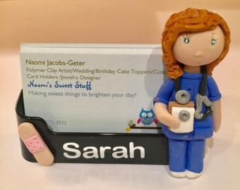 Polymer clay business card holder, Nurse business card holder,doctor,nurse,charming,fun,medicine,pills,prescription bottle,pharmacy,drug