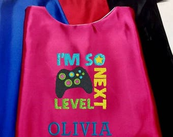 Super Hero Cape,  Embroidered Game, Video Game Cape, Girls Cape Personalized with Name