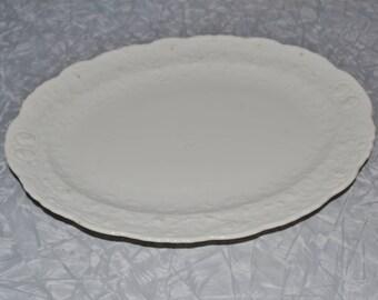 White Steubenville Rosepoint Platter ~ Steubenville USA Platter ~ White Farmhouse ~ Floral Platter