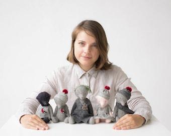 Wholesale Set of 5 Stuffed Animals: 1 Teddy Bear 9 Inches, 4 Teddy Bears 7 Inches, Soft Toys, Handmade Toys, Artist Teddy Bears