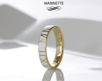 Personalized Enamel Text ring - solid 14K gold and white enamel