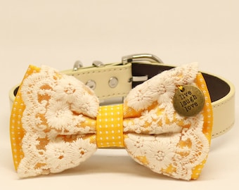 Yellow Lace dog bow tie collar, Lace, charm, Live, Love, Laugh, Leather collar, Puppy Gift, Pet wedding accessory, Country Rustic wedding