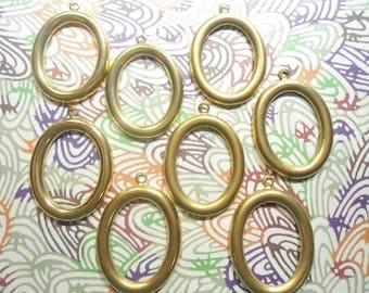 8 Brass 35mm Oval Earring Hoops Dangles Pendants