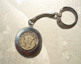 1 Silverplated Mercury Dime and New Dime Spinning Keychain Keyring