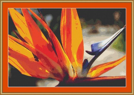 Strelitzia Reginae Cross Stitch Pattern /Digital PDF Files /Instant downloadable
