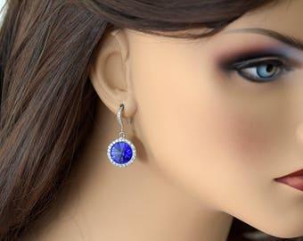 Sapphire Blue Bridal Earrings Sapphire Earrings Swarovski Crystal Rivoli Earrings Hypoallergenic Bridesmaid Earrings Wedding Jewelry SP34H