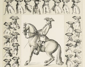 1876 Antique lithograph of ANCIENT MEN HATS. History of Costume. Racinet lithograph. Horse Riding. 18th century. 141 years old print