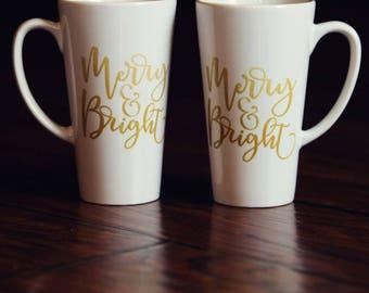 17oz Latte Mug - Merry and Bright